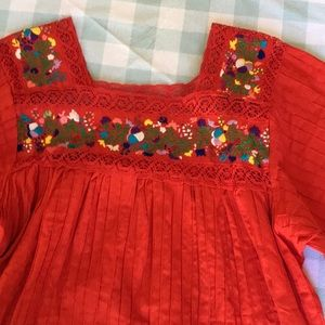 Vintage red cotton Mexican embroidered dress XL